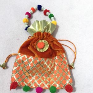 Orange Velvet Potli Bag with Moti Handle