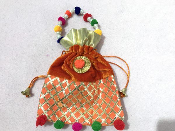 Orange Velvet Potli Bag with Moti Handle