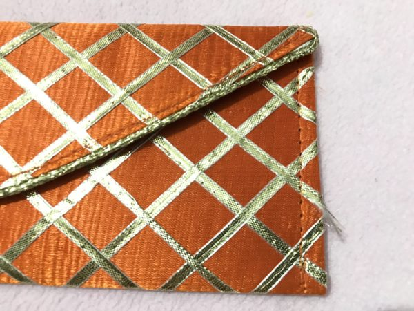 Orange check shagun envelope 1